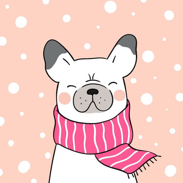 Zeichnen sie französische bulldogge mit rosa schal im schnee für weihnachten. Premium Vektoren