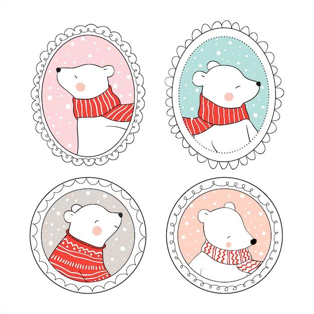 Zeichnen sie gesetzten eisbären im weinleserahmen für weihnachtstag. Premium Vektoren