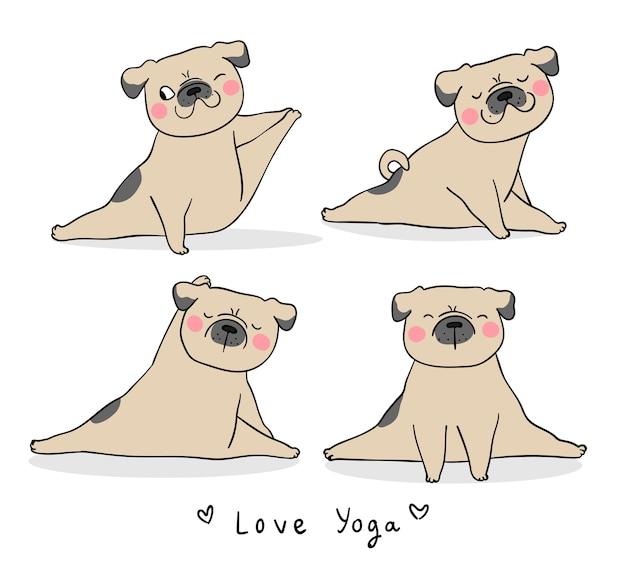 Zeichnen sie gesetzten lustigen mopshund, der yoga spielt Premium Vektoren