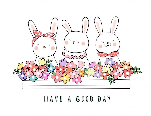 Zeichnen sie kaninchen mit schönheitsblume im blumentopf für frühling Premium Vektoren