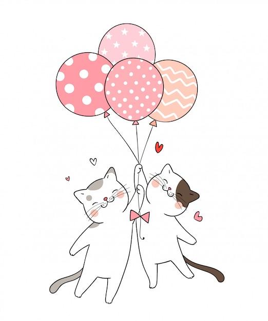Zeichnen sie katze, die ballon rosa-pastellfarbe hält. Premium Vektoren