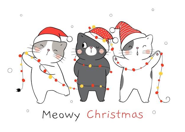 Zeichnen sie katze mit weihnachtslicht für weihnachten und neujahr. Premium Vektoren