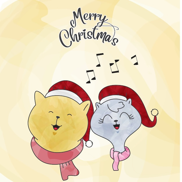 Zeichnen sie katze paar weihnachten aquarell download - Aquarell weihnachten ...