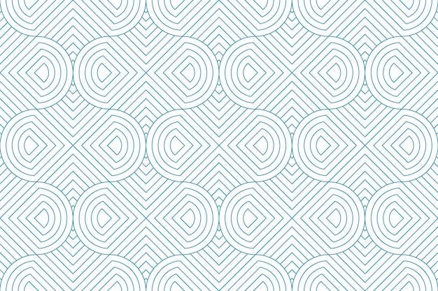 Zeichnen sie nahtlose blaue linie des geometrischen abstrakten musters auf weißem hintergrund. Premium Vektoren