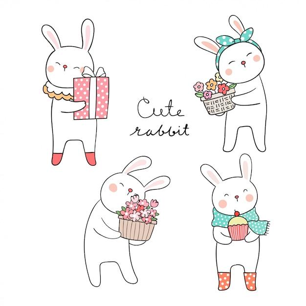 Zeichnen sie niedliches kaninchen mit blume für die frühlingssaison Premium Vektoren