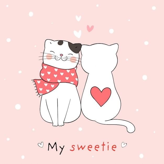 Zeichnen sie paarliebe der katze mit wenigem herzen für valentinsgruß. Premium Vektoren