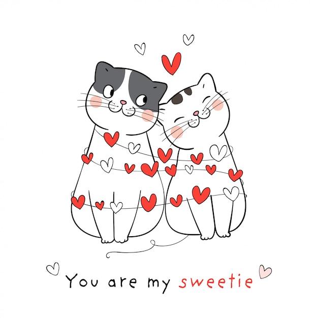 Zeichnen sie paarliebe der katze mit wenigem herzen für valentinstag. Premium Vektoren