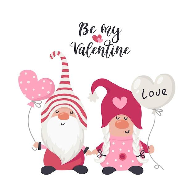 Zeichnen sie paarliebeszwerge mit rotem herzen zum valentinstag. illustration für grußkarten, weihnachtseinladungen und t-shirts Premium Vektoren