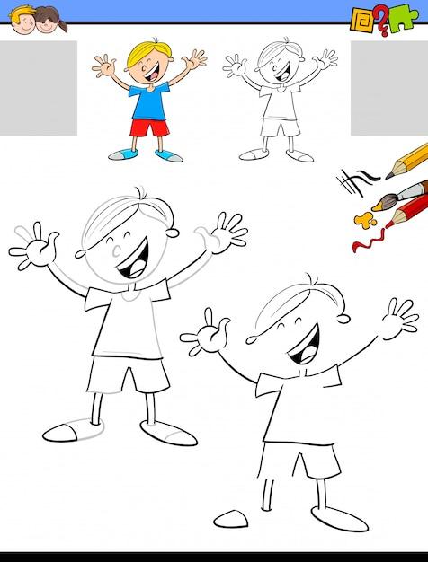 Zeichnen und färben von bildungsaktivitäten für kinder Premium Vektoren