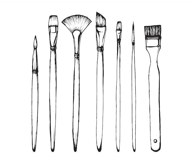 Zeichnen von pinsel. hand gezeichnete abbildung Premium Vektoren