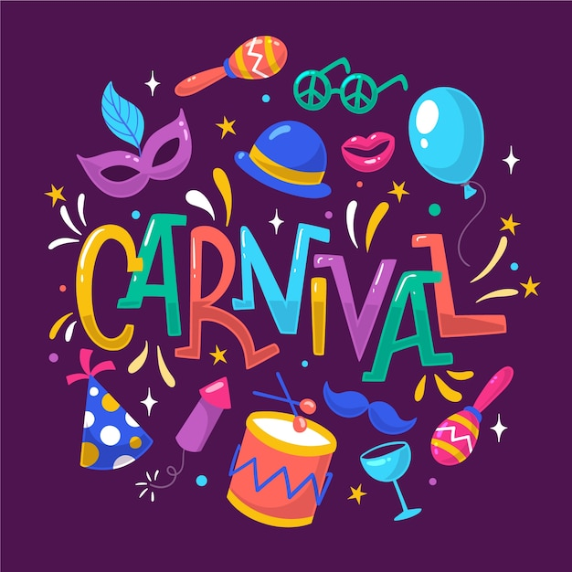 Zeichnung der karnevalsereignisfeier Kostenlosen Vektoren