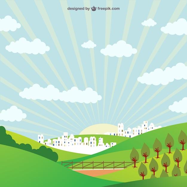 Zeichnung der panorama-feld und stadt im hintergrund Kostenlosen Vektoren