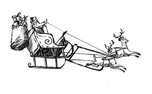 Zeichnung des weihnachtsmannes treibt rentier Premium Vektoren