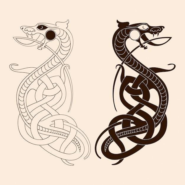 Zeichnung eines keltischen drachen. Premium Vektoren
