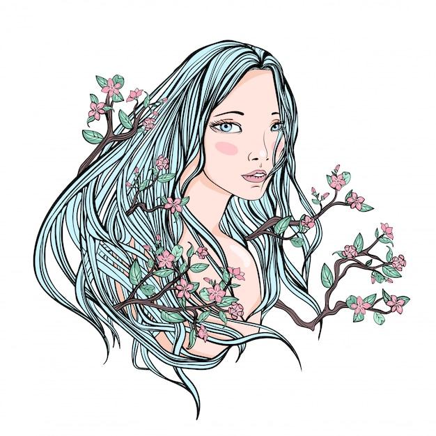 Zeichnung eines schönen mädchens mit langen blumenhaaren auf einem weißen hintergrund. blasse haut und blaues haar mit blumen und zweigen. illustration porträt. Premium Vektoren