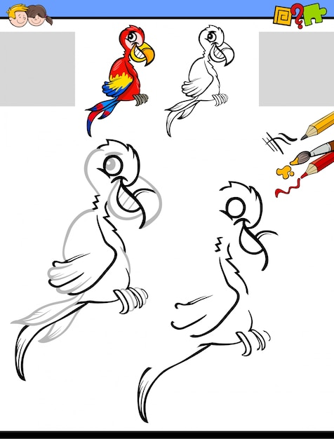 Zeichnung und Färbung Aktivität mit Ara-Charakter   Download der ...