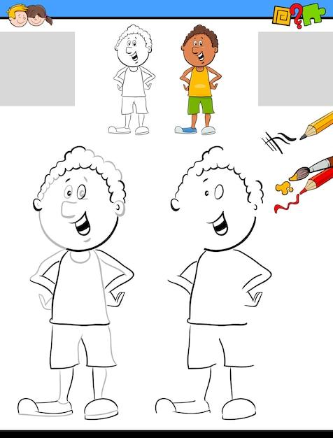 Zeichnung und Färbung Aktivität   Download der Premium Vektor