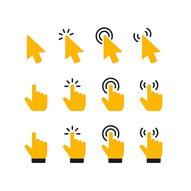 Zeigerklick-symbol. klicken sie auf den cursor und zeigen sie mit der hand auf die symbole Premium Vektoren