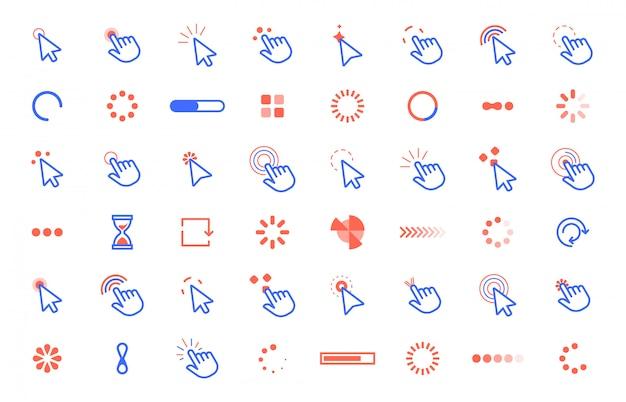 Zeigerklick-symbol. web klickt auf zeigercursor, statische und dynamische ladecursor der computer-app-oberfläche. internet circle tools set Premium Vektoren