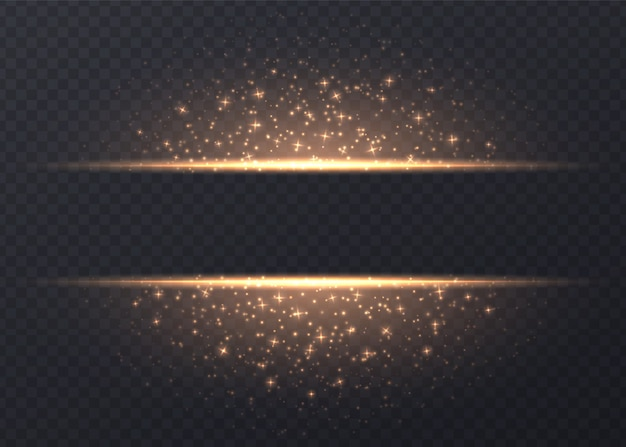 Zeilen mit den sternen und scheinen getrennt. goldener leuchtender hintergrund mit staub und grellen blicken. leuchtender vektor lichteffekt. Premium Vektoren