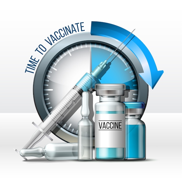 Zeit, das konzept zu impfen. spritze, impfstoffflaschen und timer-uhr. coronavirus-impf- und immunisierungskonzept. pandemie bekämpfen. realistische illustration auf weiß Premium Vektoren
