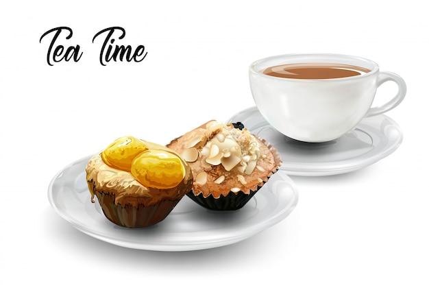 Zeit für tee mit kaffee und muffins Premium Vektoren