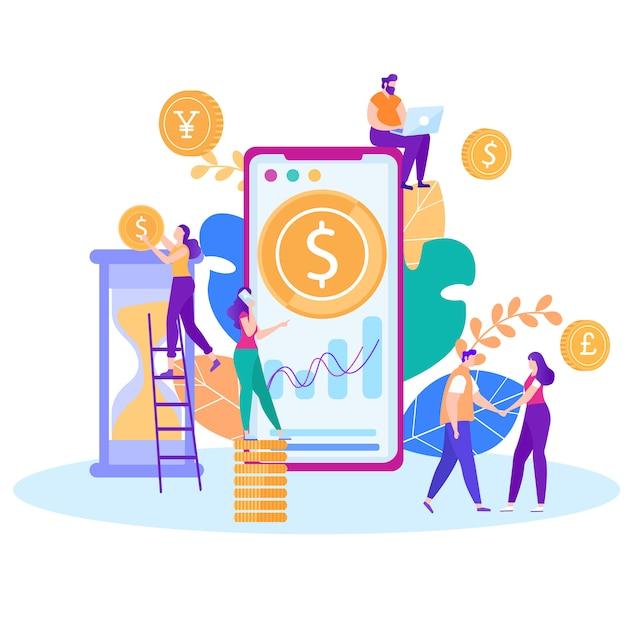 Zeit-geld-management-online-kontrolle im flachen stil Premium Vektoren