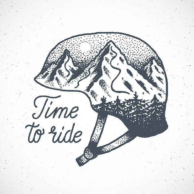 Zeit, handgezeichnetes snowboard oder skihelm mit berglandschaft im dotwork-stil zu fahren. Premium Vektoren