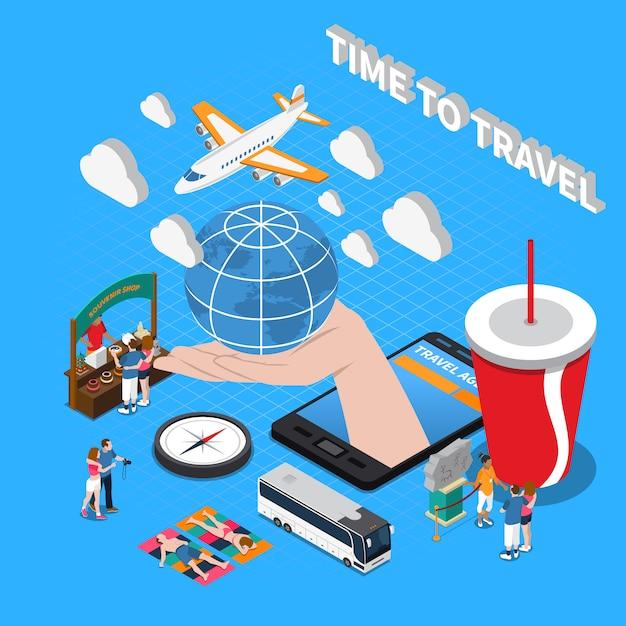 Zeit, isometrische zusammensetzung zu reisen Kostenlosen Vektoren