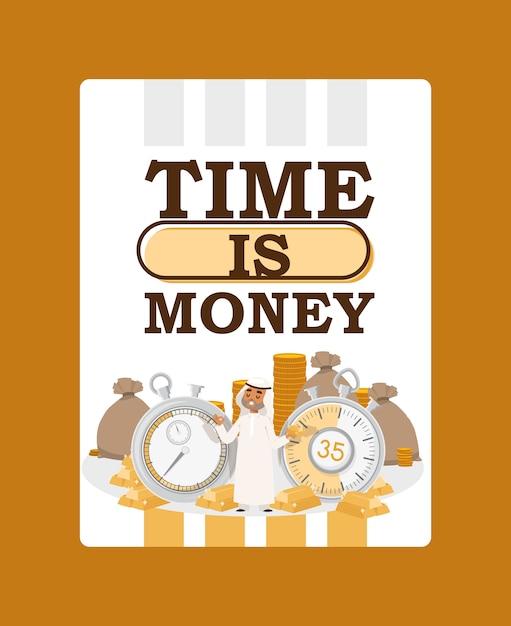 Zeit ist geld. arabischer geschäftsmann, der traditionelle kleidung mit stoppuhr und taschen des geldes trägt Premium Vektoren