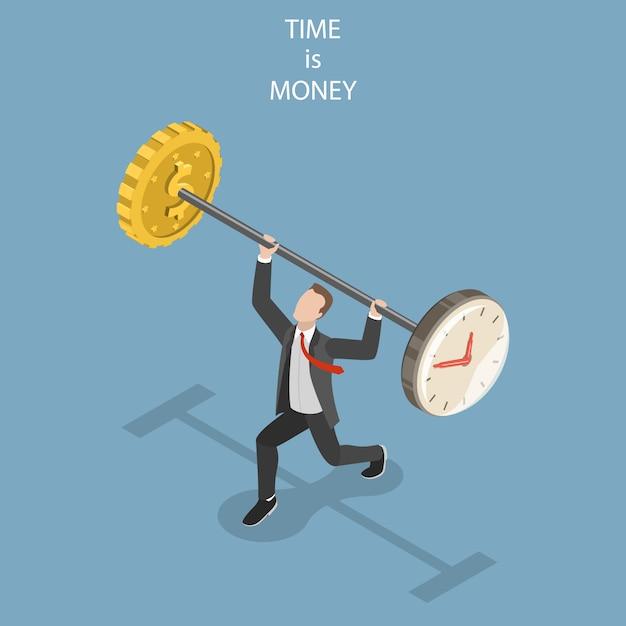 Zeit ist geld flach isometrisches konzept Premium Vektoren