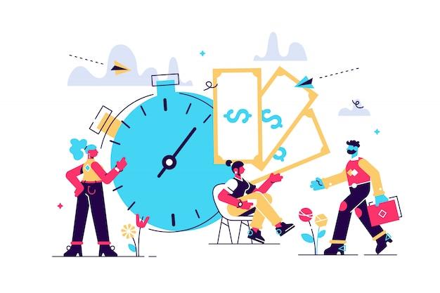Zeit ist geld, geschäft und finanzen. zahltag, uhr und geldillustration Premium Vektoren