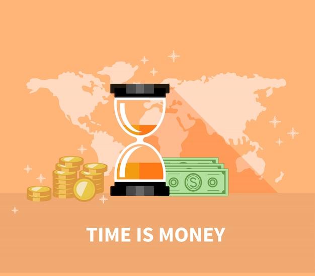 Zeit ist geld konzept. sanduhr-münzen Premium Vektoren