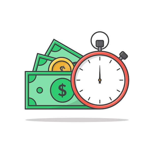 Zeit ist geld-konzept-symbol-illustration. uhr und geld symbole flache symbole Premium Vektoren