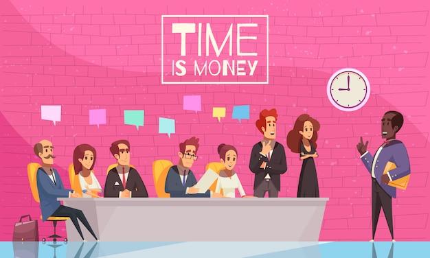 Zeit ist geldillustration mit einem team kreativer geschäftsleute, die der rede ihres chefs zuhören Kostenlosen Vektoren