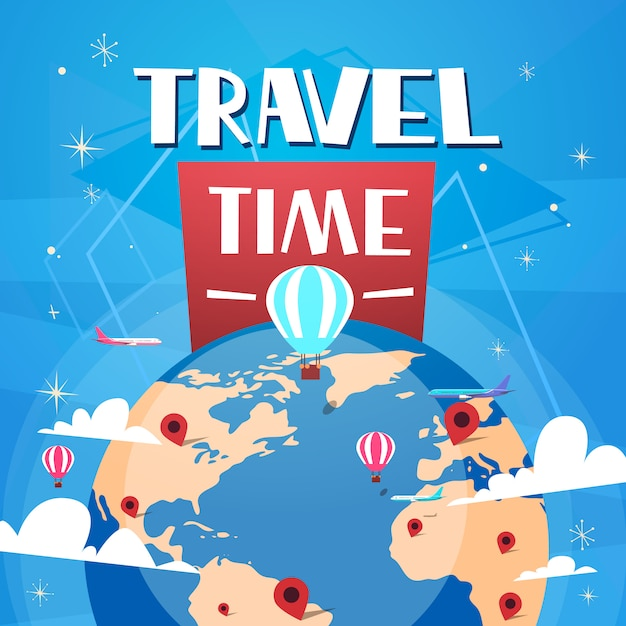 Zeit, plakat mit luftballons über weltkugel auf blauem hintergrund zu reisen retro- tourismus-fahne Premium Vektoren