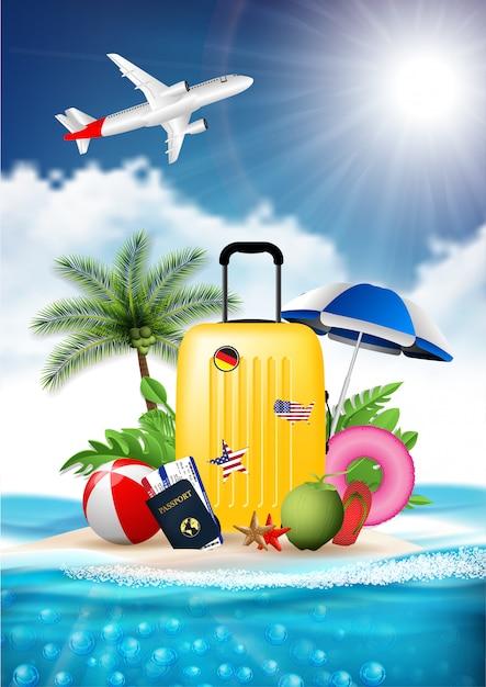 Zeit, realistisches designvektor-illustrationskonzept der sommerstrandurlaub-ferien zu reisen. gepäck koffer, tickets zeichen, insel ist umgeben, meer, strand, sonnenschirm Premium Vektoren