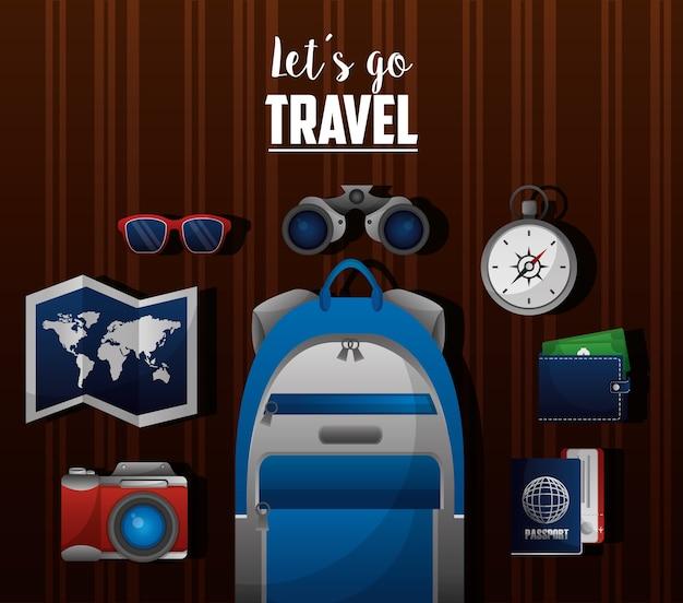 Zeit um die welt zu reisen Premium Vektoren