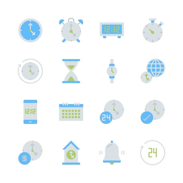 Zeit und uhr im flachen ikonensetdesign Premium Vektoren