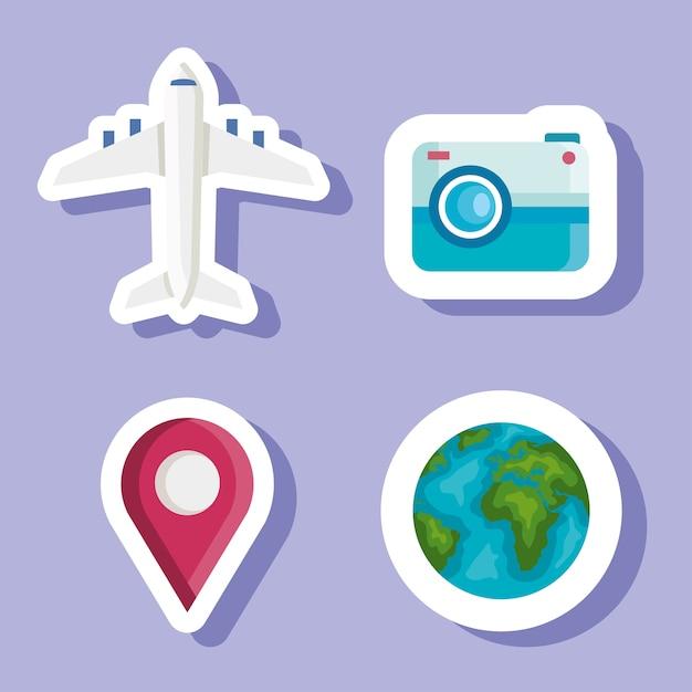 Zeit zu reisen aufkleber design, reisetourismus und reisethema Premium Vektoren