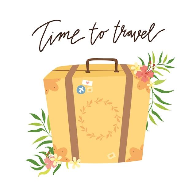 Zeit zu reisen. retro-koffer Kostenlosen Vektoren