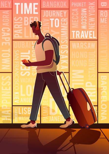 Zeit zu reisen. sommerurlaub. ein reisender auf einem flughafen. auf der ganzen welt. Premium Vektoren