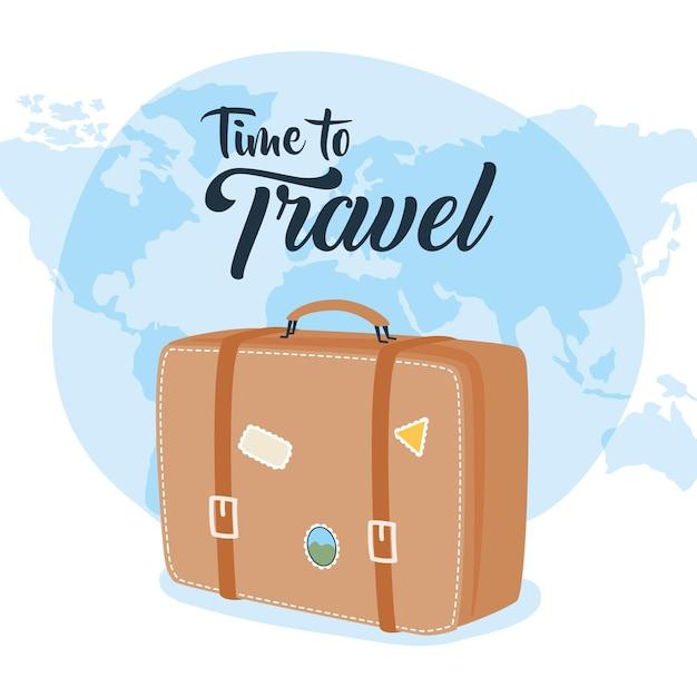 Zeit zu reisen tasche mit aufklebern und welt design, gepäck gepäck und tourismus thema vektor-illustration Premium Vektoren
