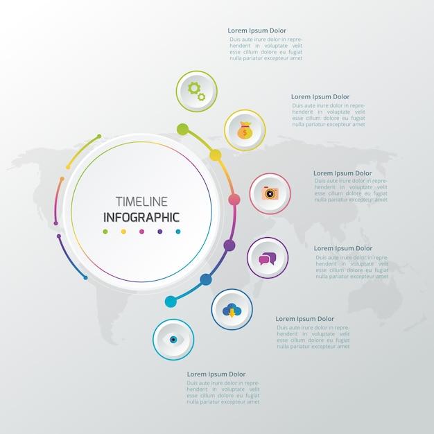 Zeitachse Infografiken Design-Vorlage mit 3D-Papier-Label ...