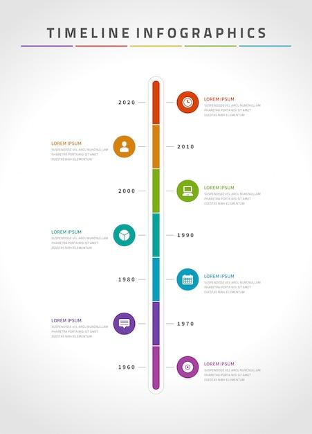 Zeitachse infografiken und icons vektor-design-vorlage. Premium Vektoren