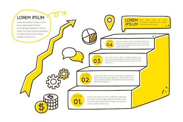 Zeitachse infographic in der hand gezeichnet Kostenlosen Vektoren
