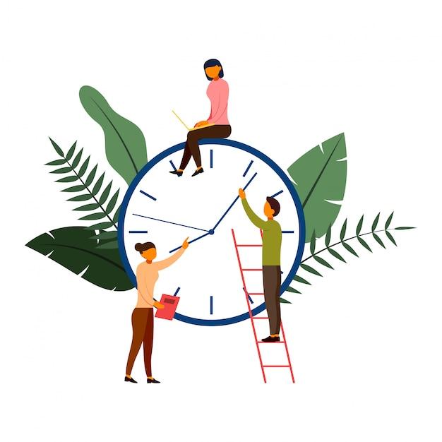Zeiten sind geld-, geschäfts- und managementkonzept mit charakterillustration Premium Vektoren
