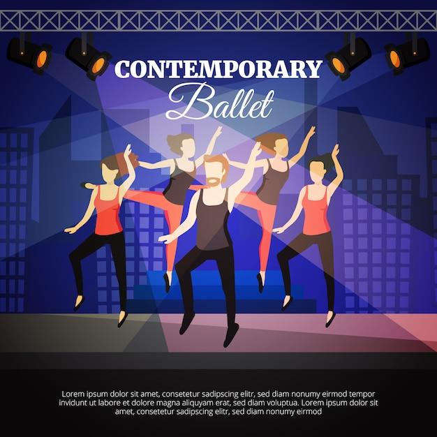 Zeitgenössisches ballettplakat mit tanzenden leuten und stadium Kostenlosen Vektoren