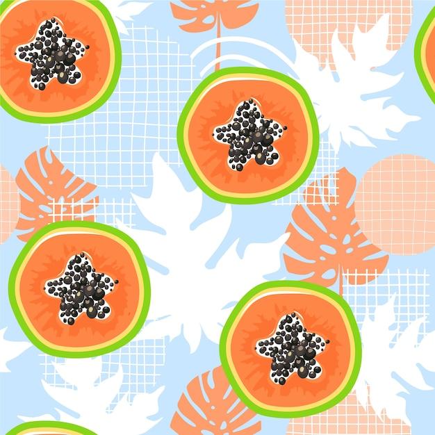 Zeitgenössisches nahtloses muster mit papaya. gesundes essen. Premium Vektoren