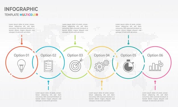 Zeitleiste infografik dünne liniendesign, optionen für kreis 6. Premium Vektoren